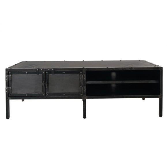 meuble bas télévision industriel noir