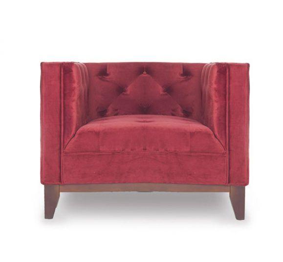fauteuil piqué rouge vintage design