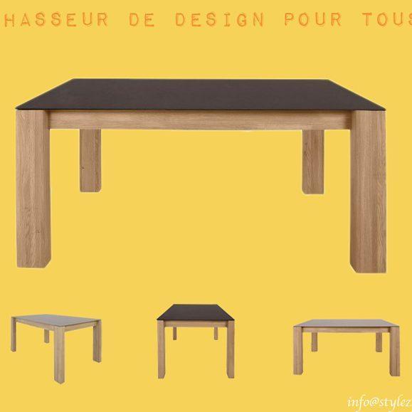 table de repas céramique et chêne