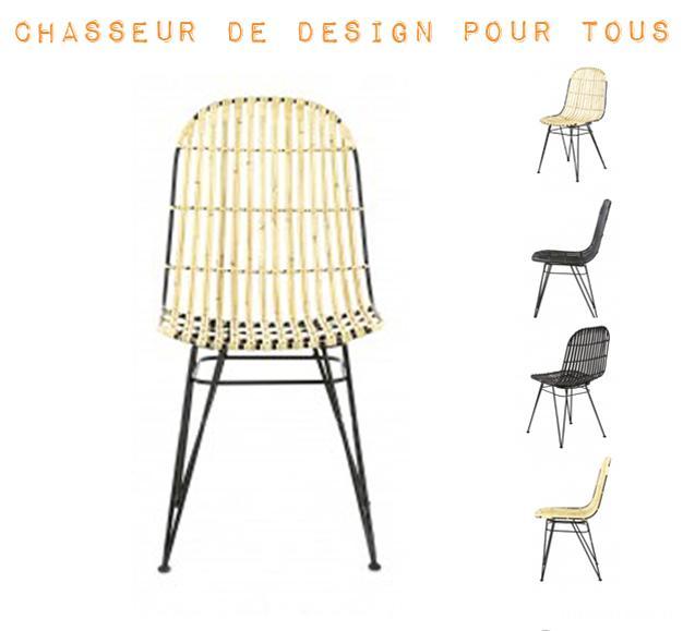 chaise en rotin naturel et métal