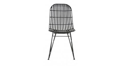 chaise métal noir rotin naturel