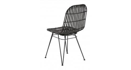 chaise rotin pieds métal tendance