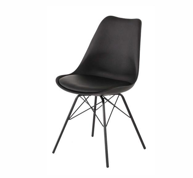 chaise noir mate design rembourrée
