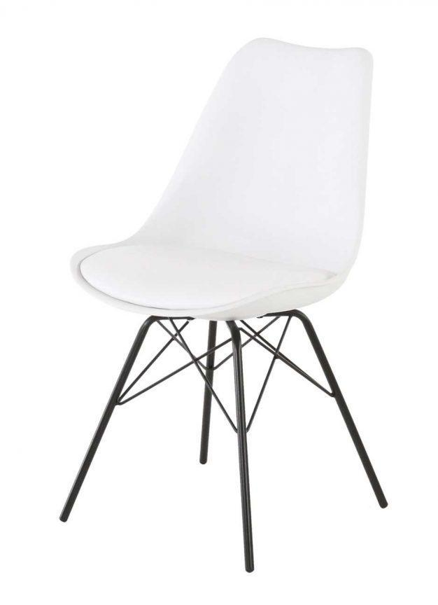 chaise assise rembourrée blanche mate