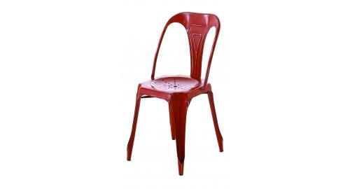 chaise design industrielle rouge foncé