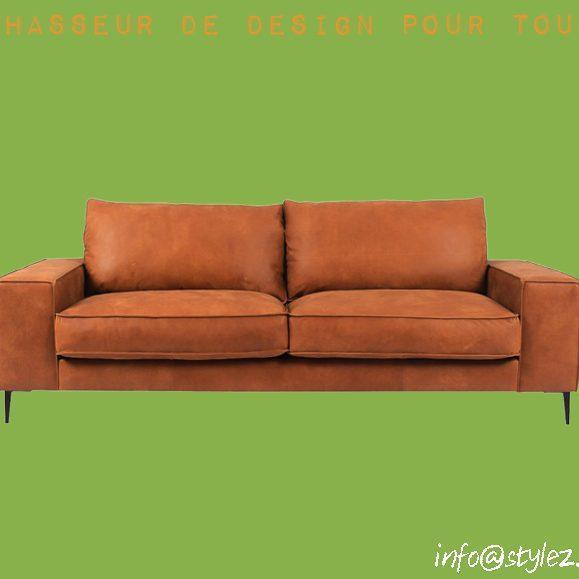 canapé cuir marron deux places