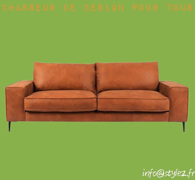 Canapé en cuir marron ou noir 215cm cuir authentique