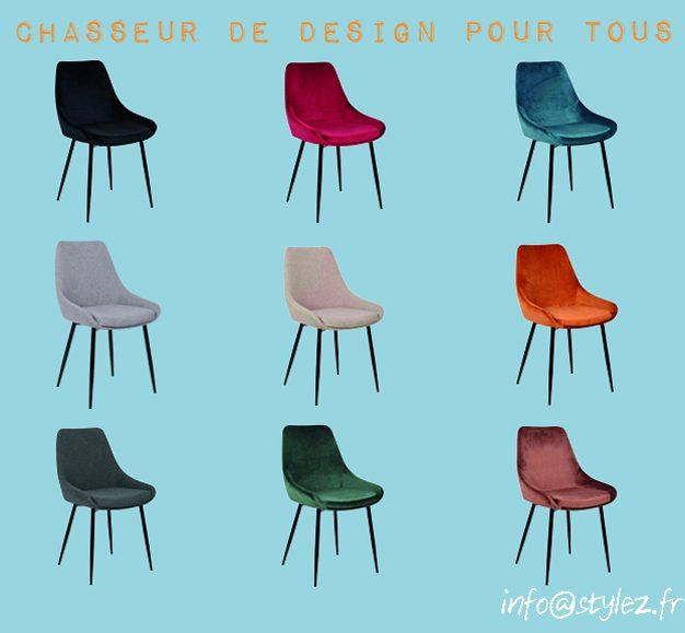 Chaise velours - noir, écru, rouge, bleu, marron, vert, gris claire, gris foncé, beige, orange, cognac, velours couleurs x10