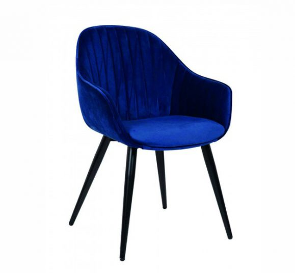chaise chic confortable velours bleu