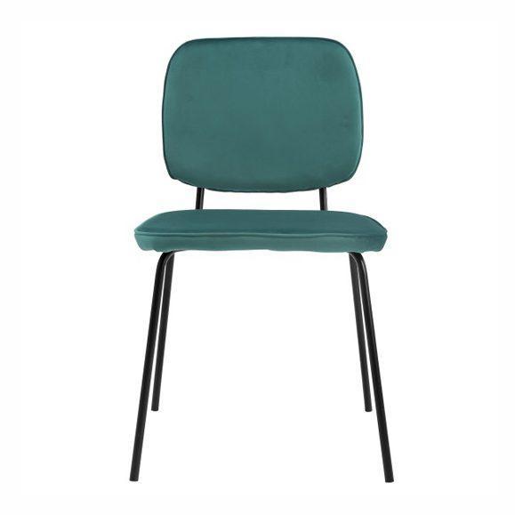 chaise écolier vintage rembourrée bleue
