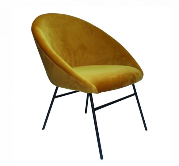 fauteuil chic velours jaune moutarde