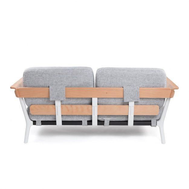 canapé bois blanc tissu gris
