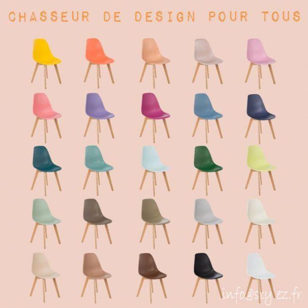 chaise design couleurs pieds bois