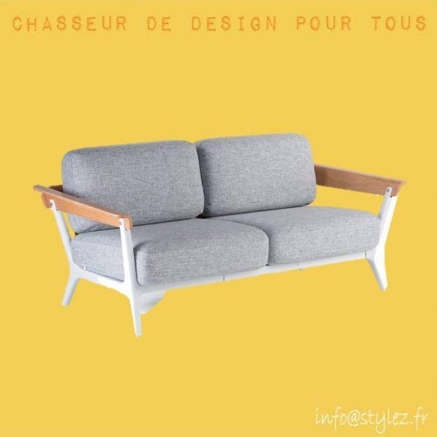 canapé 2 places bois tissu