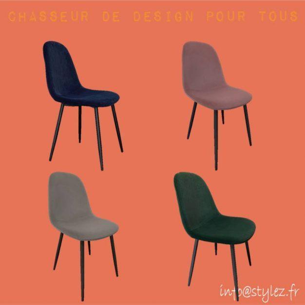 chaise chic velours haute qualité