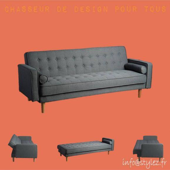 canapé lit moderne gris anthracite