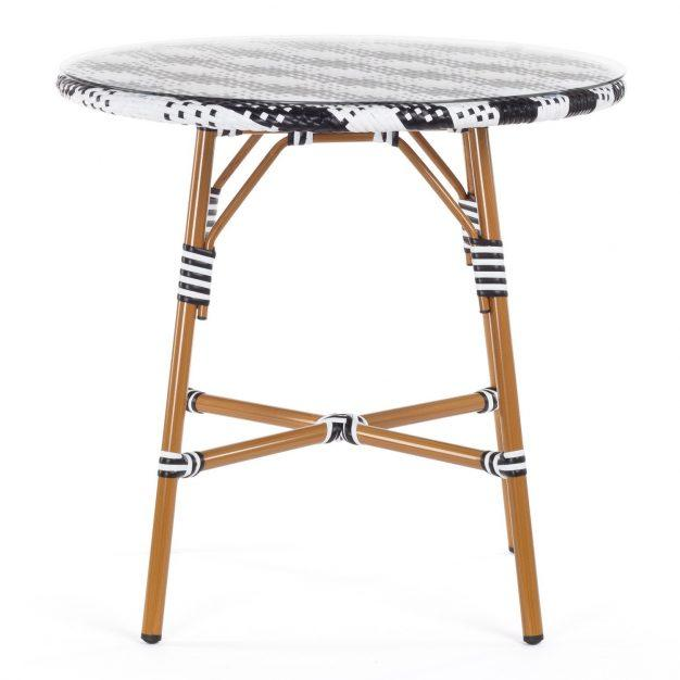 table bistrot vintage noir blanche verre bois