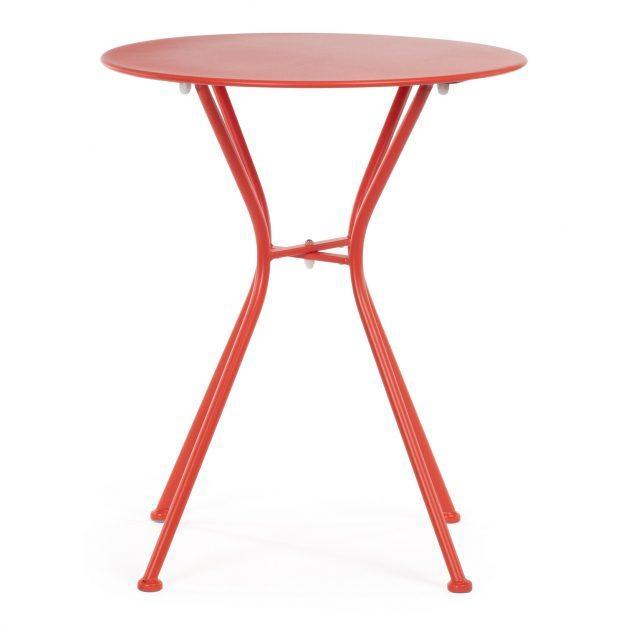 table ronde rouge métal jardin