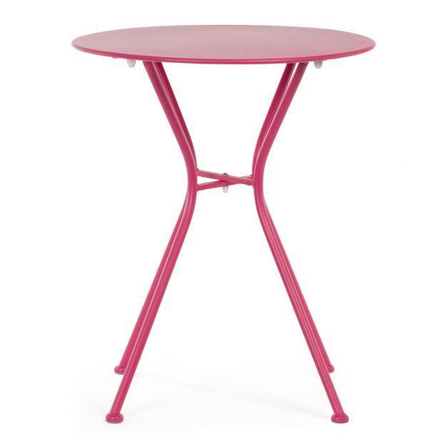table métal design rose pour extérieur