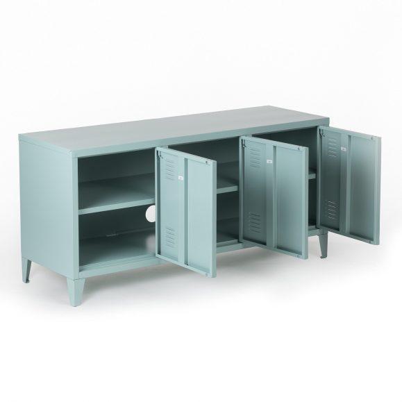 buffet industriel bleu plume portes