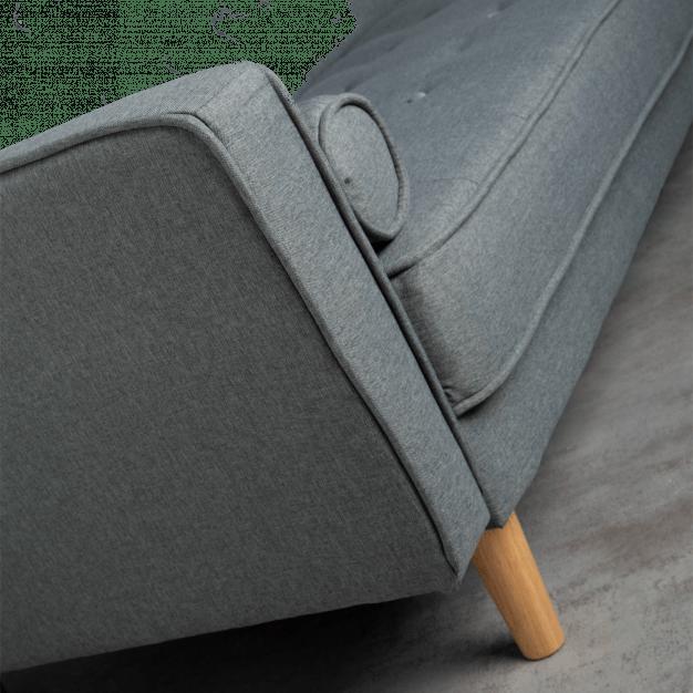 canapé lit lin bois gris