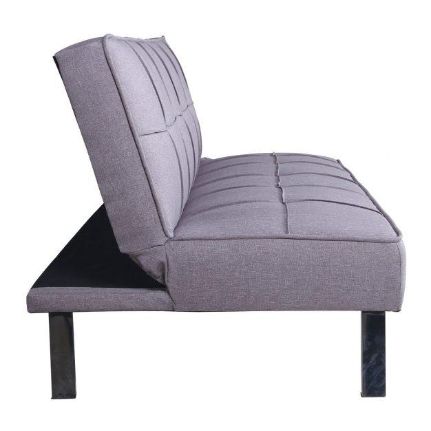 canapé transformable gris clair capitonné