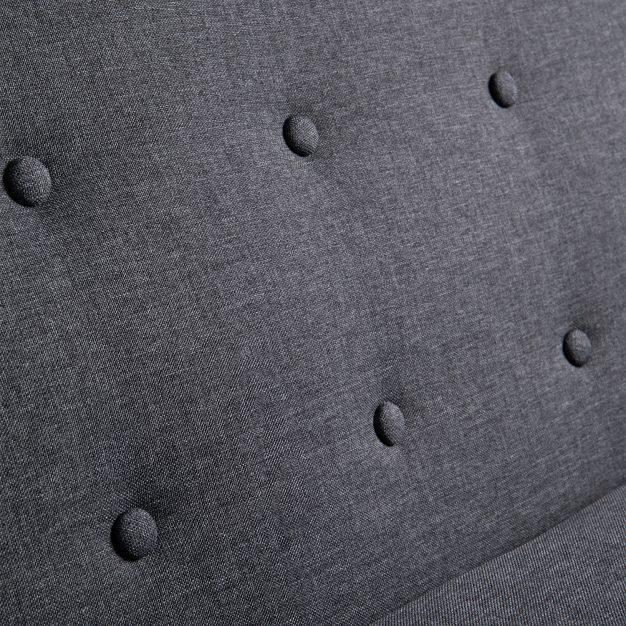 canapé piqué boutons tissu gris