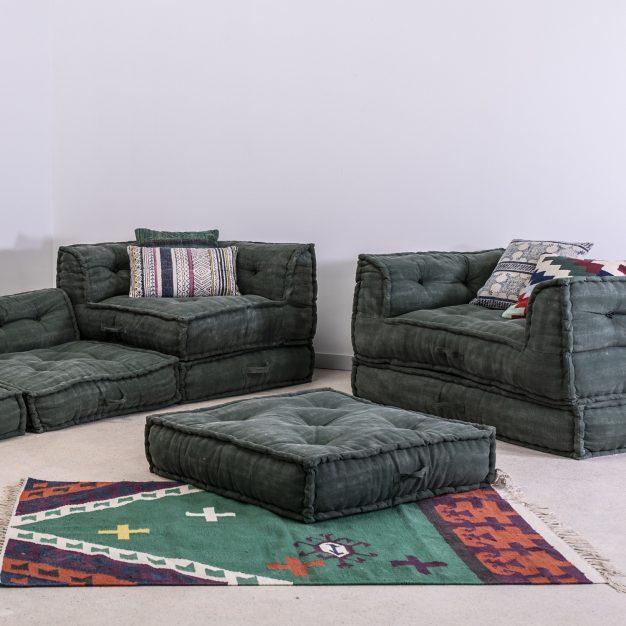 canapé lit modulable vert vieilli