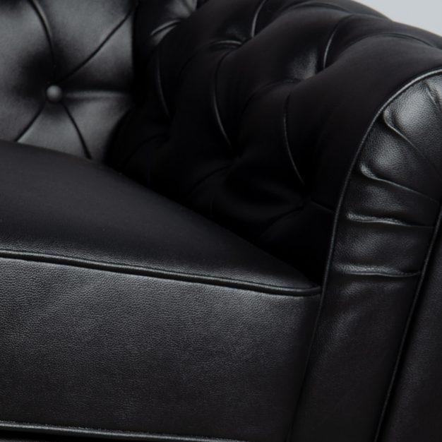 canapé anglais cuir piqué noir
