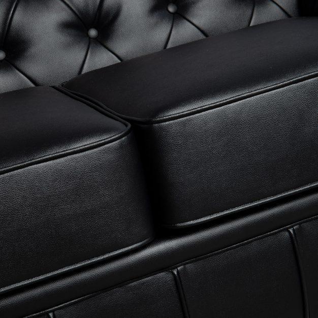 canapé trois places cuir noir