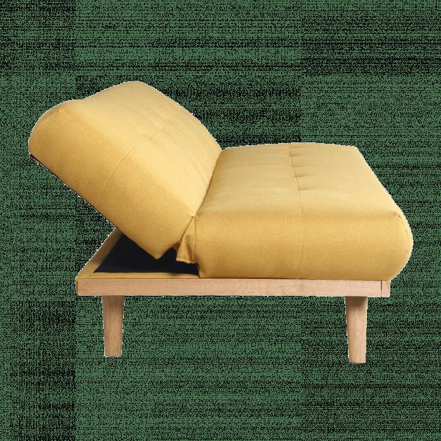 canapé lit scandinave jaune bois