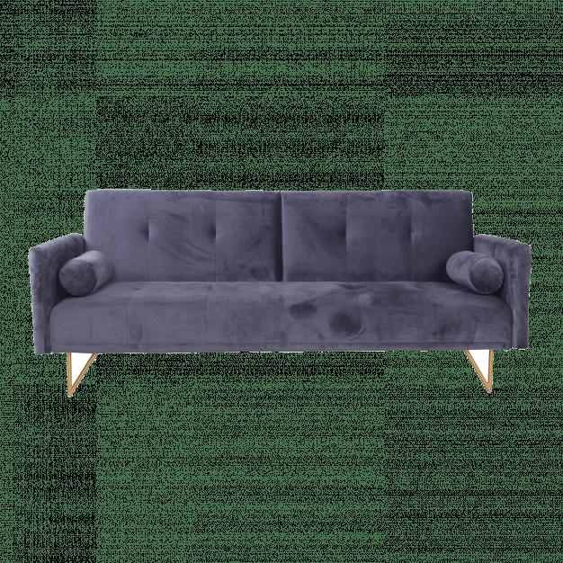 canapé transformable en velours gris
