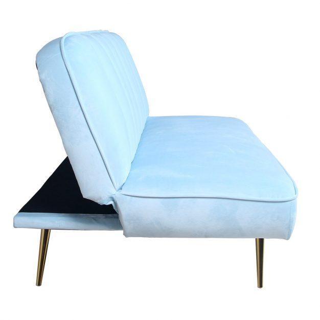 canapé lit vintage velours bleu
