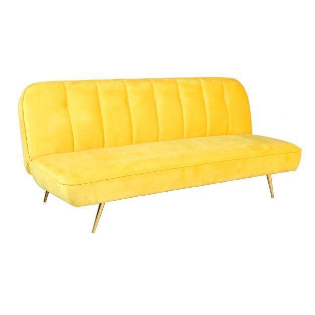 canapé lit jaune velours laiton