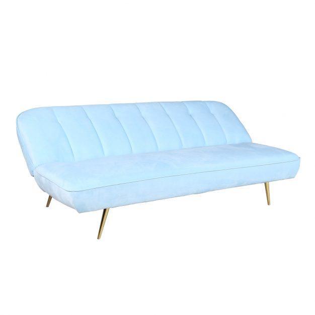 canapé lit bleu ciel confortable