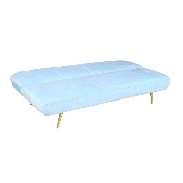canapé transformable pieds laiton bleu
