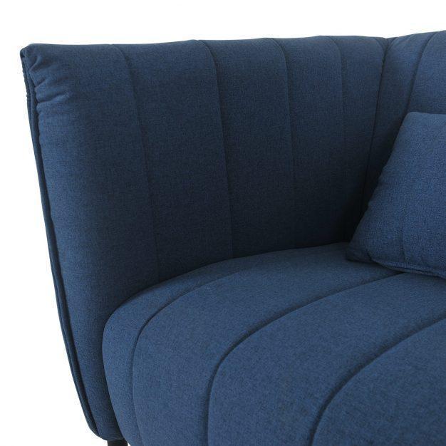 canapé élégant tissu matelassé bleu
