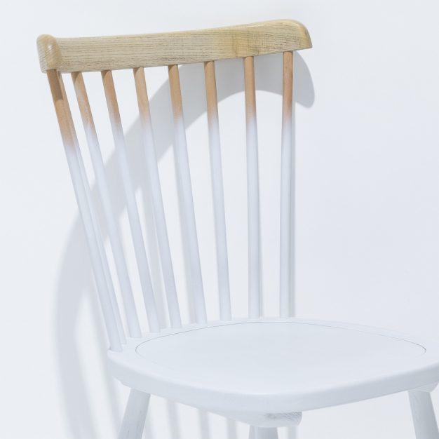 chaise design bois naturel blanc