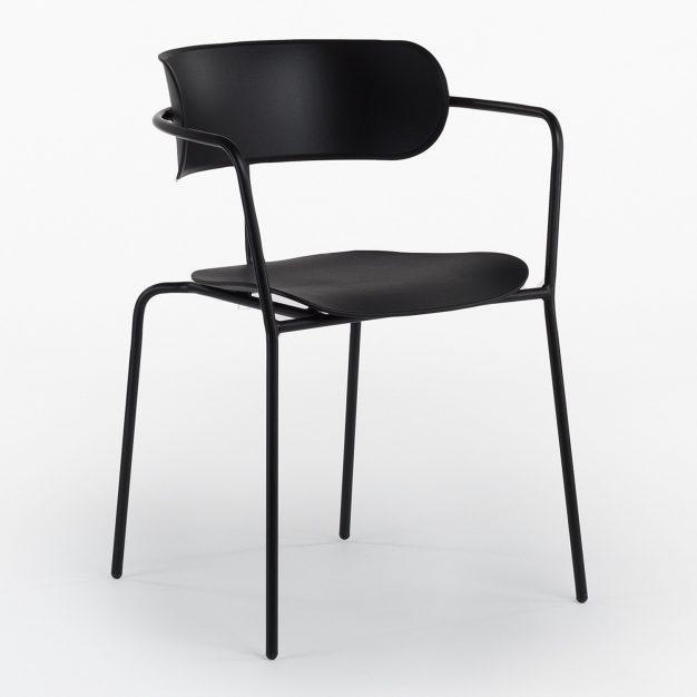 chaise bureau empilable design noir polypro
