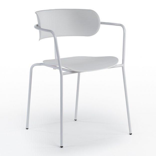 chaise bureau acier simili blanche