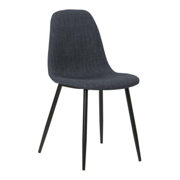 chaise lin bleu foncé design