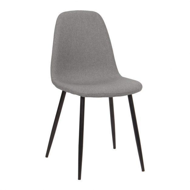 chaise lin pieds noir grise