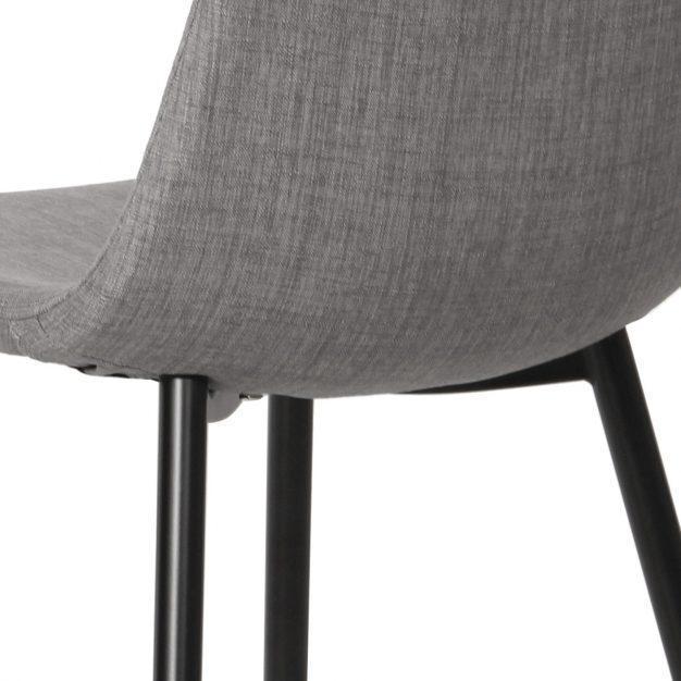 chaise tissu gris pieds noirs