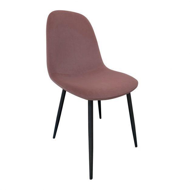 chaise velours vieux rose design pieds noirs