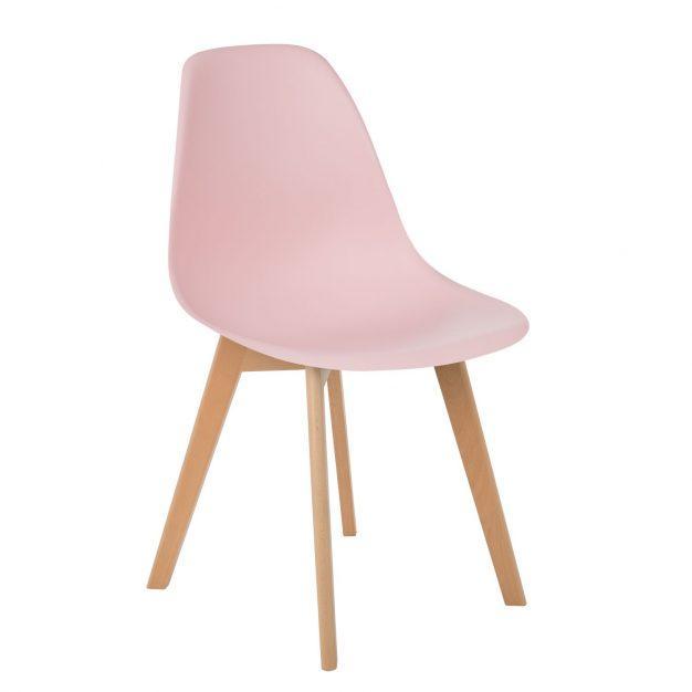 chaise design rose pâle bois nordique