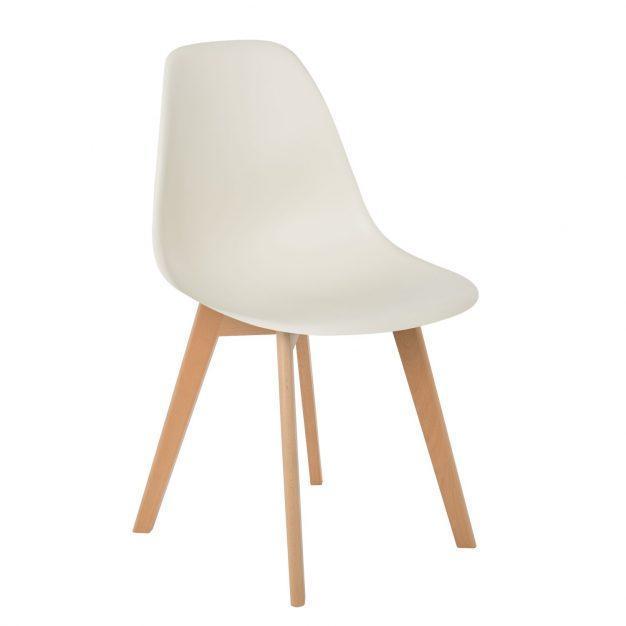 chaise blanc cassé pieds bois nordique