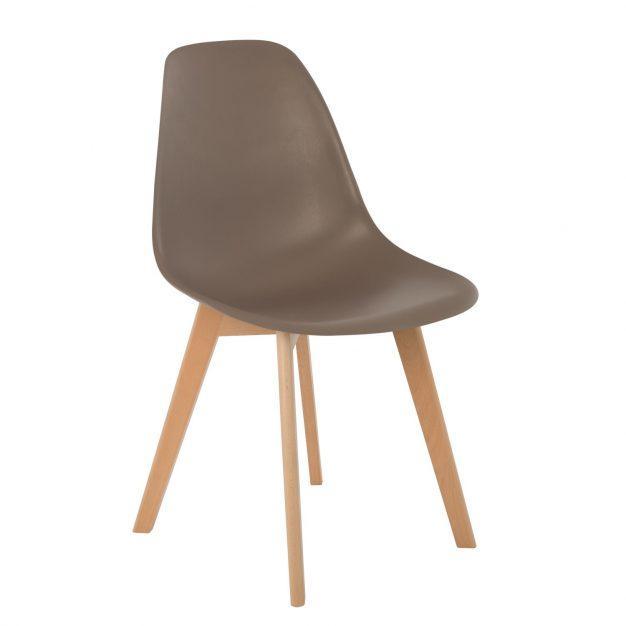 chaise design marron pieds bois taupe