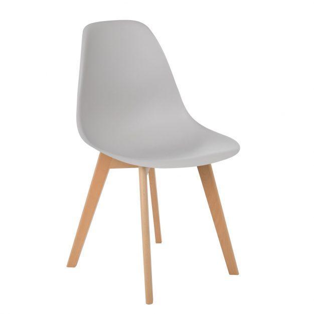 chaise pieds bois gris clair