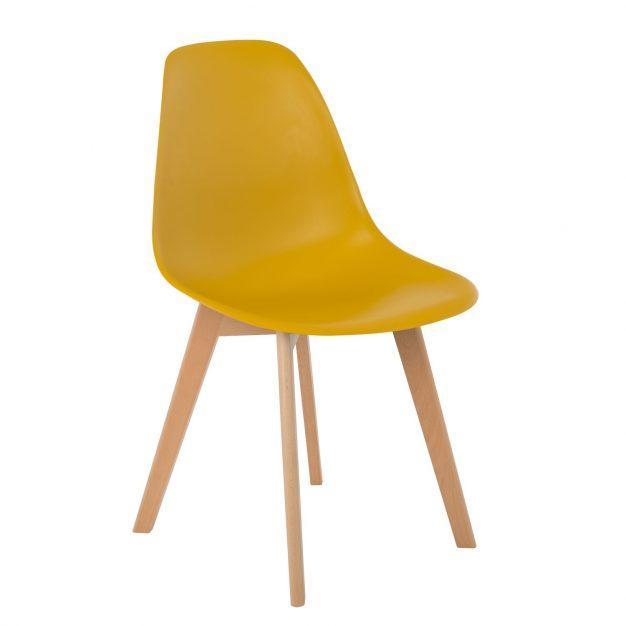 chaise tendance jaune moutarde curry nordique