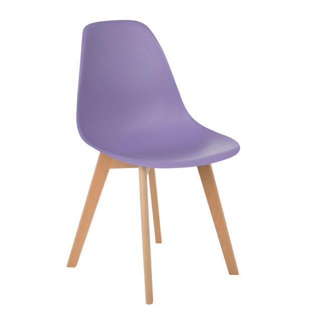 chaise violette mauve pieds bois contemporaine